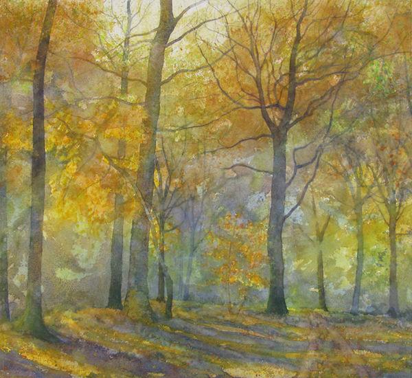 watercolour autumn wood