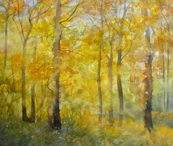 watercolour autumn woodland