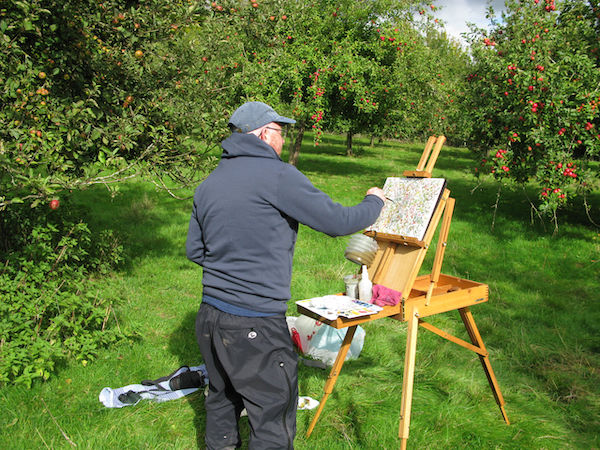 orchard autumn watercolour painting