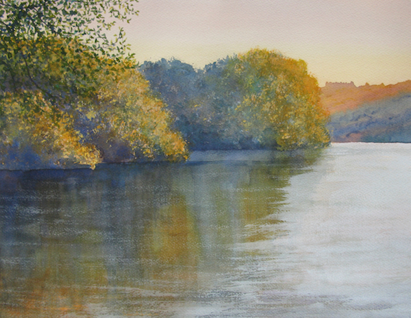 watercolour lake sundown