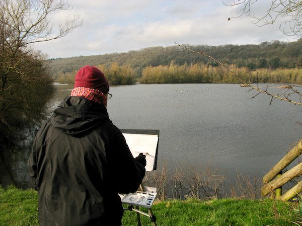 February 2020 - watercolour sketching at Bodenham Lake