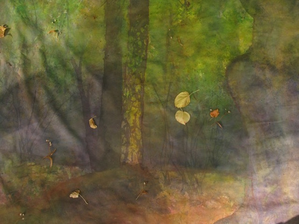 Day 5- real leaves falling on the painting