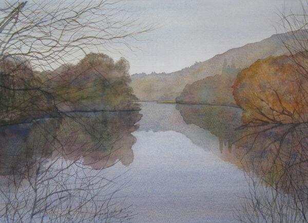 studio watercolour lake February
