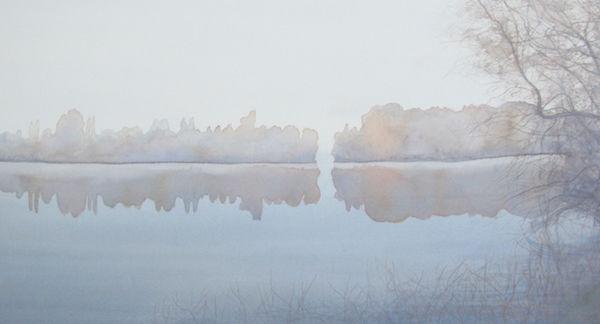 fog lake watercolour