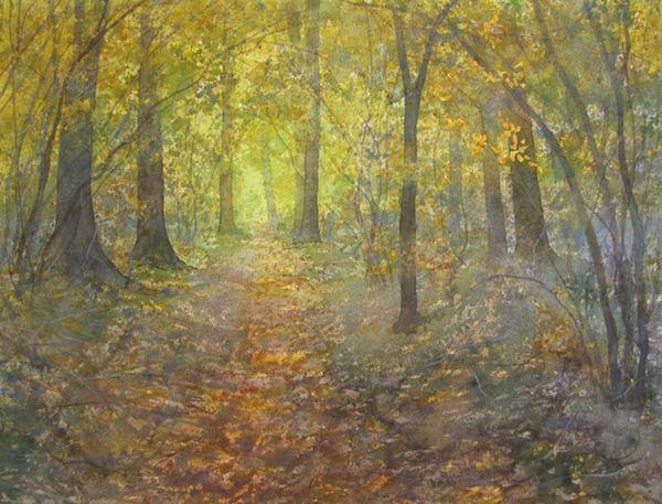 Autumn woodland path watercolour