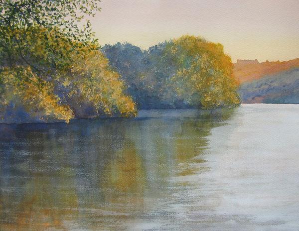 watercolour lake sundown