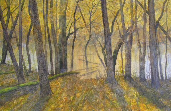 watercolour wet woodland