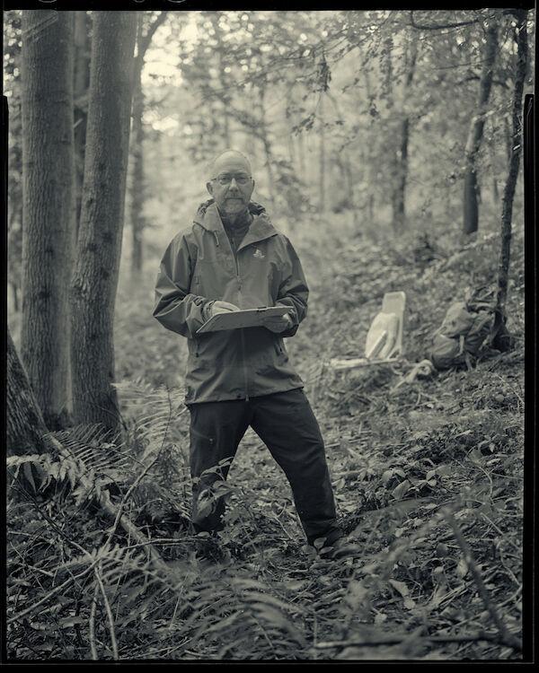 Richard sketching in Lea & Paget's Wood