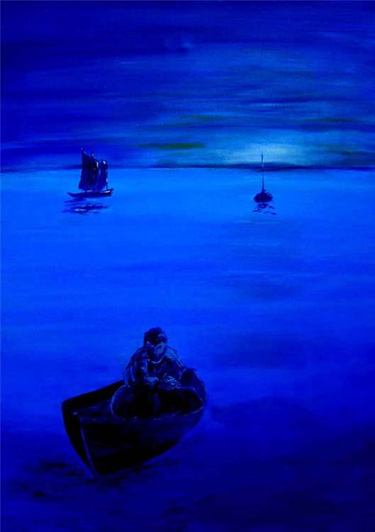 Blue dawn. Seascape