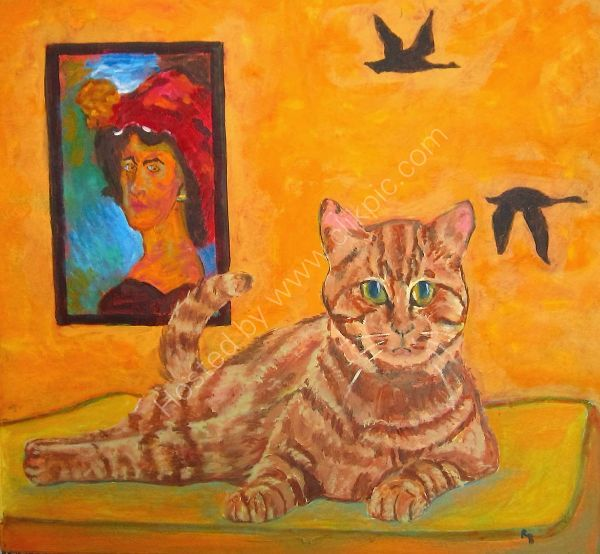 cat with flying geese and portrait
