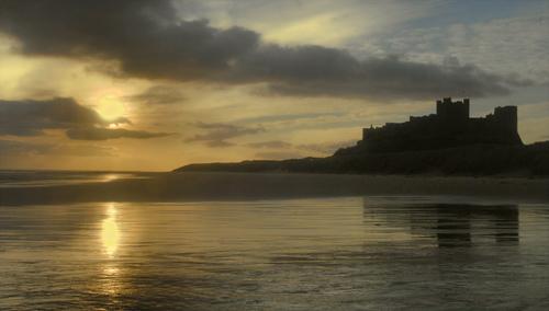 Bamburgh sands sunrise