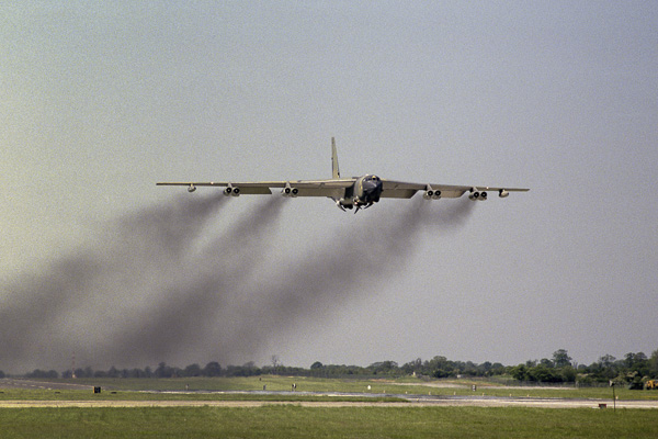 B-52 gaining height slowly