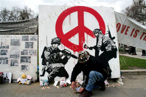 Brian Haw & Banksy CND Soldiers
