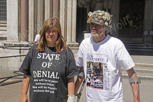 Brian Haw & Barbara Tucker outside High Court