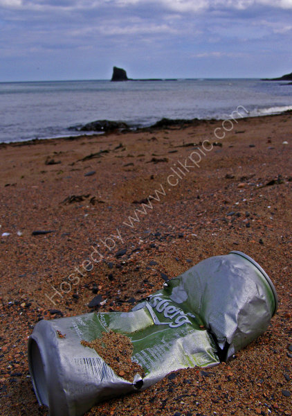 Seawashed empty Carlsberg can, washed up on the seashore at Saltwick Bay.