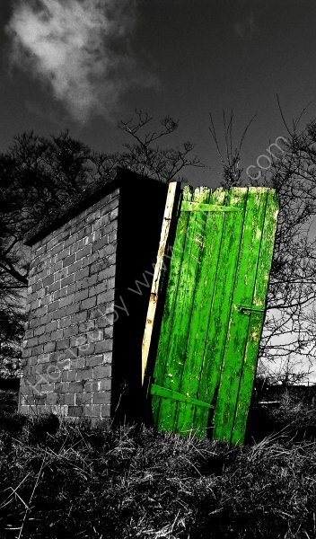 'Colour Popped' image of strange shed in a field in Horsforth