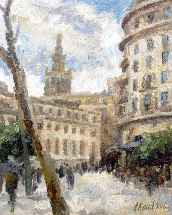 Un rincón de la Plaza Nueva y la Giralda