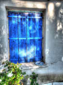 Blue window with plate