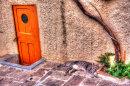 Brown door with cat