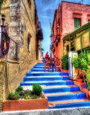 Taverna on blue steps