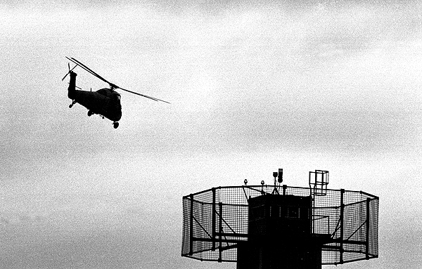 Dungannon, Northern Ireland, 1994.A British Army helicopter takes-off from the fortified military base.