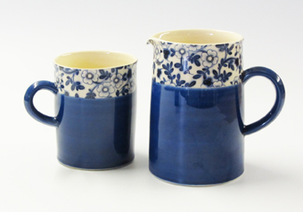 Blue chintz mug and jug