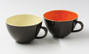 Cream and orange black cups