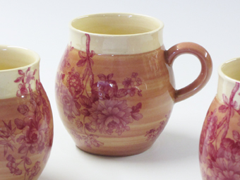 Crimson ball chintz mug