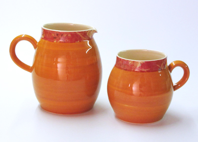 Warm orange ball mug and jug