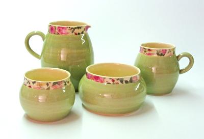 Pale green ball jug and mug