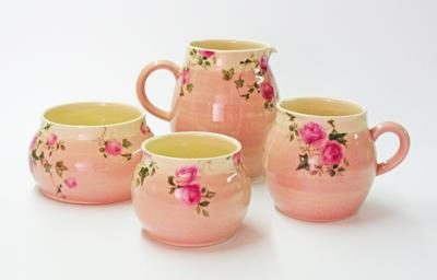 Pink ball mug, jug and bowls