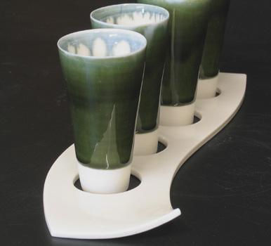 Thrown porcelain shot 'glass' set (detail).