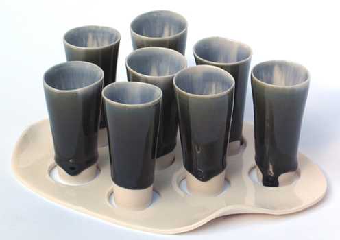 Thrown porcelain shot 'glass' set with tray.