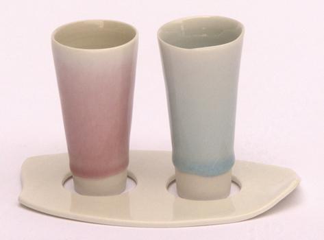 Thrown porcelain shot 'glass' set.