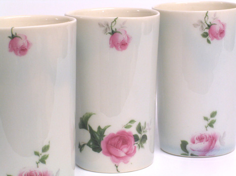 Cast porcelain rose beakers.