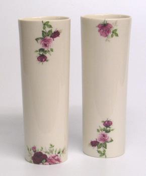 Cast porcelain rose beakers. 16cm.