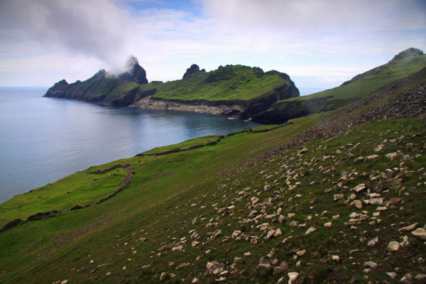 View to isle of Dun from Ruaival on Hirta (main island of St Kilda).