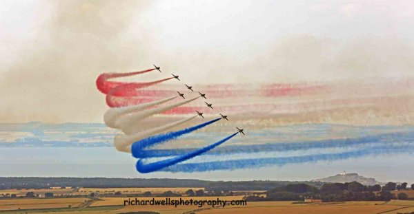 Red arrows in colour…over Fidra Lighthouse