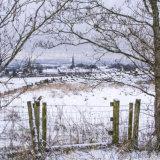 Snowy view to Wardle Village