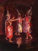 Bangkok Dancers (pastel) by Joyce Miller