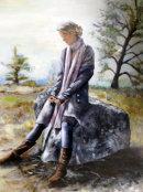 Blue Mood (Oil on stiff paper) by Joyce Hope