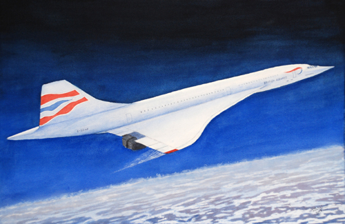Concorde (watercolour) by Brian Nixon