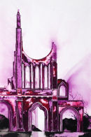 Byland Abbey (watercolour) by Derek Hopper