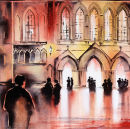 Evensong Ripon Cathedral (watercolour) by Derek Hopper