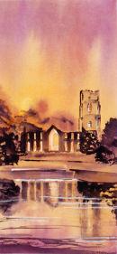 Fountains Abbey - Floodlit (watercolour) by Derek Hopper