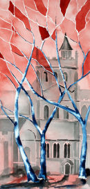 Ripon Cathedral Nave North Side (watercolour) by Derek Hopper