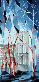 Ripon Cathedral Tower North Side (watercolour) by Derek Hopper