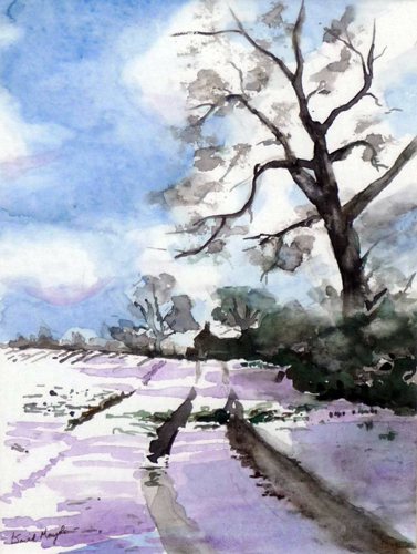 Path to my House (watercolour) by David Mayoh