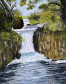 Waterfall (Acrylic) by Marjorie Robinson