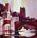 Durham Cathedral from the River (watercolour) by Derek Hopper